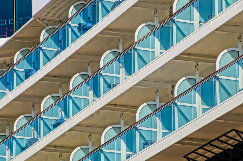 Low angle view of cruise ship cabines