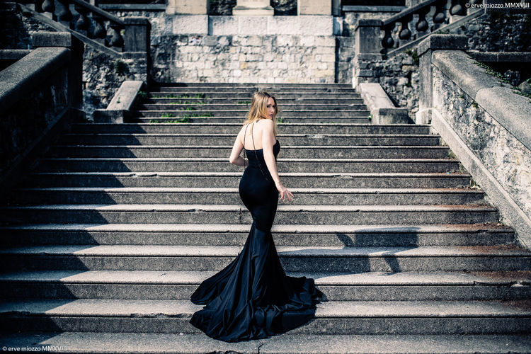 Erve Erve Miozzo Photo Miozzo Steps And Staircases Beautiful Woman Full Length Adult Clothing Beauty Young Women One Person Women Architecture Young Adult Portrait Contemplation Formalwear Blond Hair Staircase Fashion Dress Hair Hairstyle