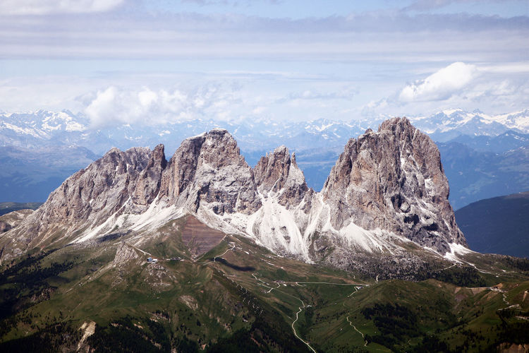 Scenic view of snowcapped sassolungo mountain group against sky as seen from the marmolada terrace