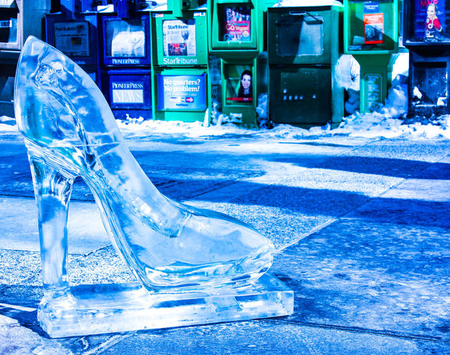 Had to go to Rochester for medical reasons, it was so cold that it was hard to breath. This ice shoe did not melt one drop for the whole week. Rochester MN Winter Blue City Cold Temperature Day Frozen Ice No People Outdoors