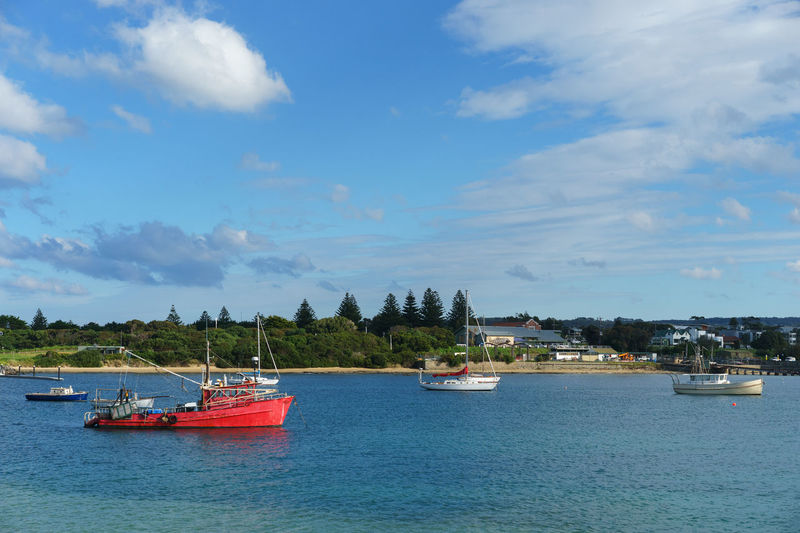 Boats at Apollo Bay, Victoria, Australia. Apollo Bay Australia Australian Great Ocean Road Victoria Beauty In Nature Boat Cloud - Sky Day Moored Nature Nautical Vessel No People Outdoors Scenics Sea Sky Tranquility Transportation Water Waterfront