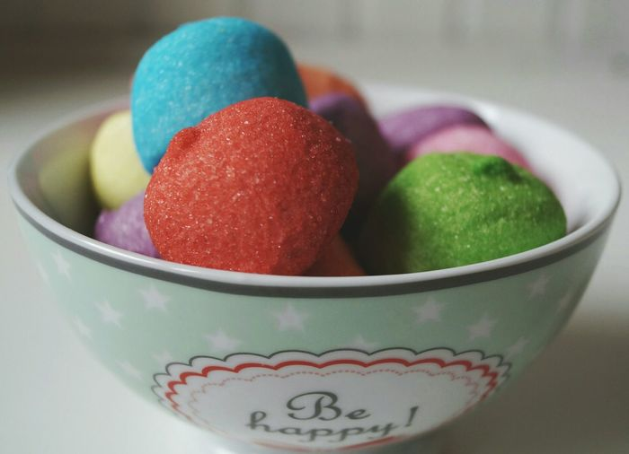 Close-Up Of Colorful Marshmallows In Bowl On Table