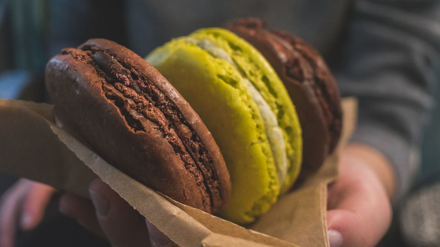 Close-up of human hand holding macaroons