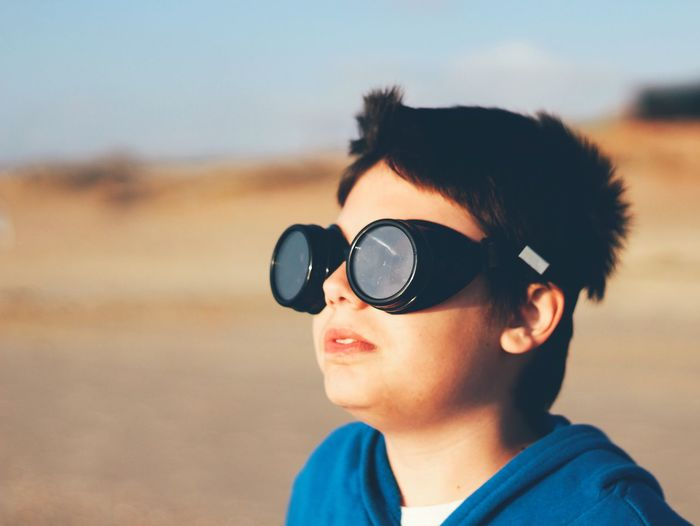 Portrait Of Boy Wearing Goggles