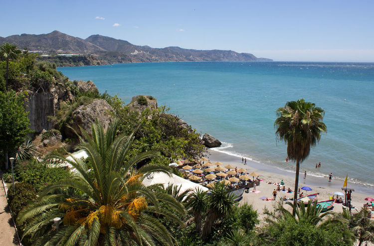 View of Nerja beach and the sea Nerja Nerja Andalucia Nerja Coast Nerja Coastal View Nerja Coastline Nerja Spain Nerja Beach Beach Beauty In Nature Blue Clear Sky Day High Angle View Horizon Over Water Idyllic Mountain Nature Palm Tree Scenics Sea Sky Tranquil Scene Tranquility Tree Water