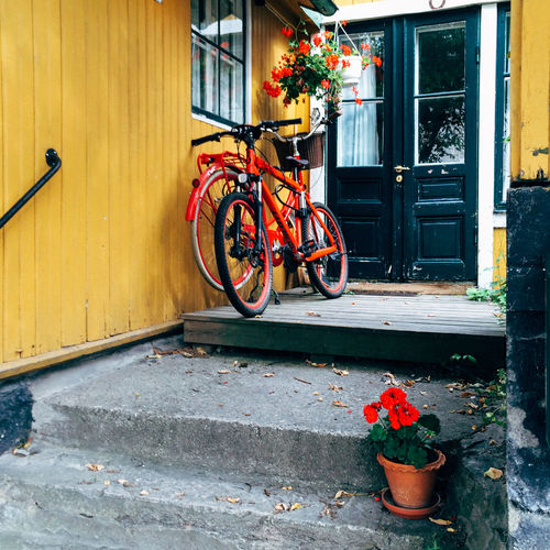 Bicycles outside house