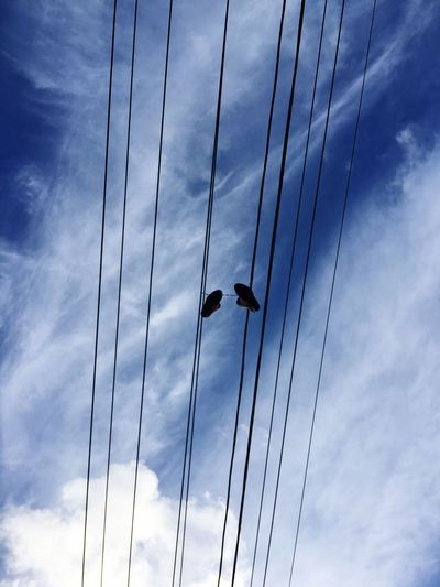 Shoes hanging from the power lines Sky Low Angle View Cable Power Line  Hanging Outdoors Blue Sky Power Lines Power Lines Against Sky Hanging On Power Lines Shoes Hanging On Powerline