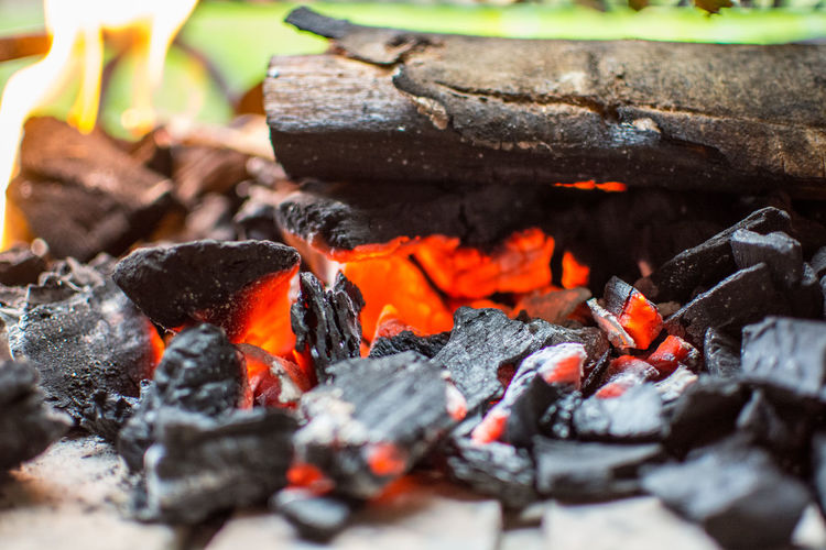Fire Burning Fire - Natural Phenomenon Fire Heat - Temperature Flame Log Wood - Material Close-up Firewood No People Selective Focus Wood Coal Nature Burnt Ash Glowing Barbecue Day Outdoors Bonfire Autumn Mood