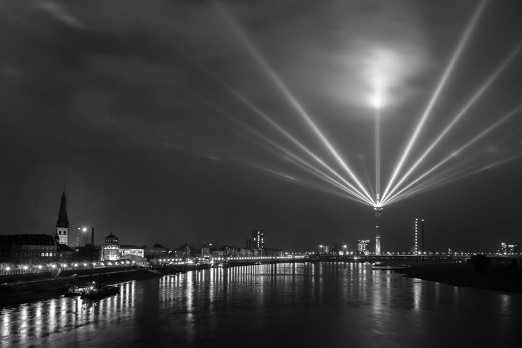 Düsseldorf, Germany Architecture Built Structure City Düsseldorf Electric Light Famous Place Fluss Germany Illuminated Night NRW Reflection Rhein Rheinkomet Rheinturm  Rhine River Sky Travel Destinations Urban Skyline Water Waterfront Monochrome Photography