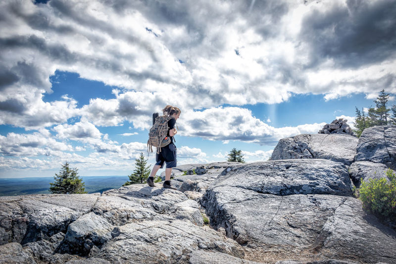 Today Is Your Day! RoMurphyPhotography.com Adventure Backpack Beauty In Nature Casual Clothing Climbing Cloud - Sky Day Full Length Hiking Leisure Activity Lifestyles Mountain Nature One Person Outdoors People Real People Rock - Object Scenics Sky Standing Young Adult