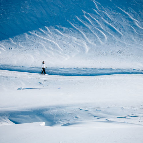 Woman skiing on snow