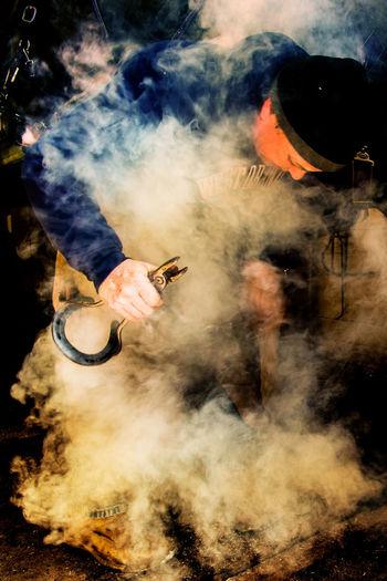 View of smoke emitting from smoke
