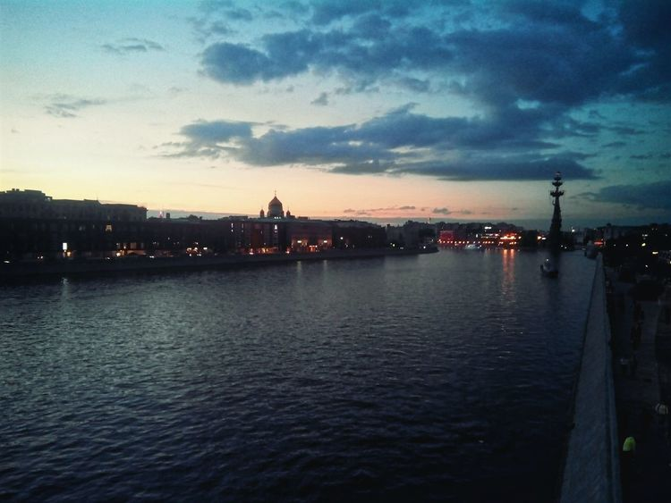 Moscow Moskva-river Sunset Water City Architecture Cloud - Sky River Peter I Jesus Christ Cathedral Moscow