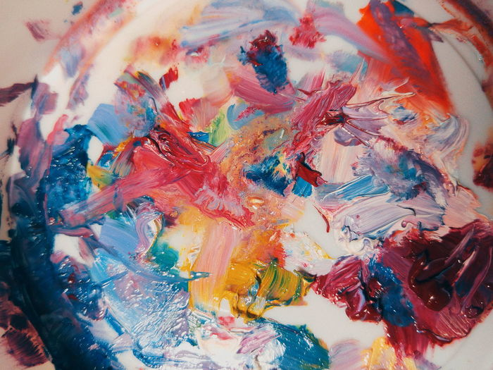 Art Art And Craft Multi Colored Backgrounds Abstract Paint Close-up Pattern Palette Oil Paint No People Artsy