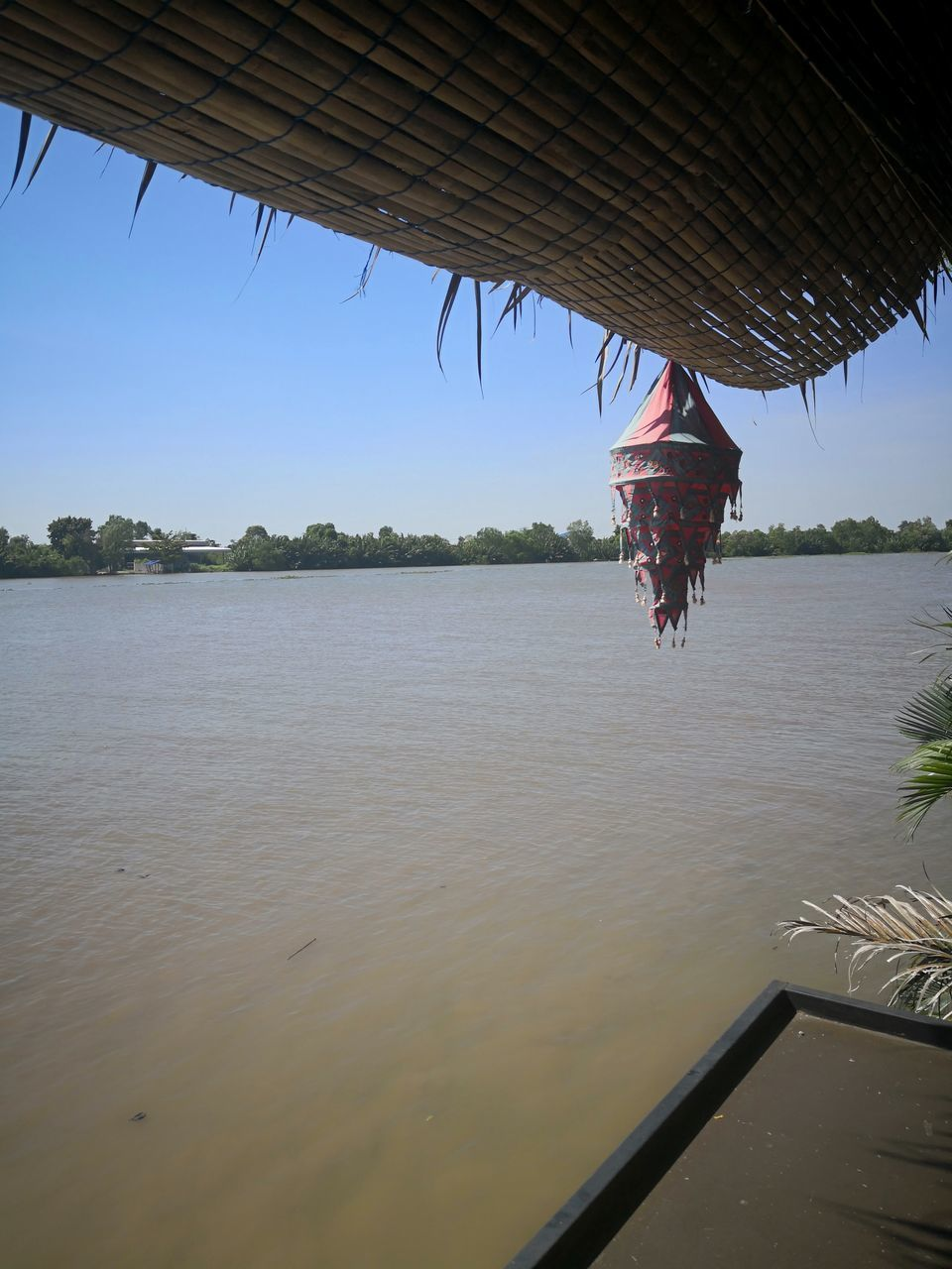 MAN ON ROOF AGAINST RIVER