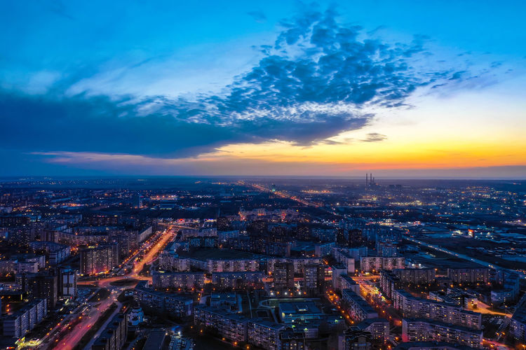 A bird's eye view of the modern district of the city of togliatti in the evening after sunset.