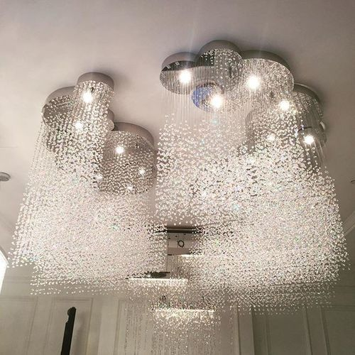 Customized raining crystals by @bellitas_lighting Bellitas_lighting Bangkok Thailand Crystal Light Lighting Lampdesign