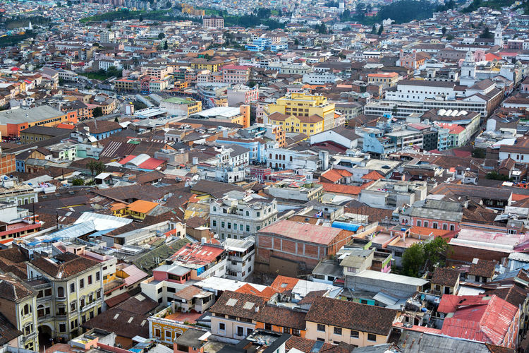 View from above of the historic center of Quito, Ecuador Architecture City Cityscape Colonial Colonial Architecture Colonial Style Downtown Ecuador Historic Latin America Quito Skyline South America Tourism Travel Travel Destinations Unesco UNESCO World Heritage Site Urban