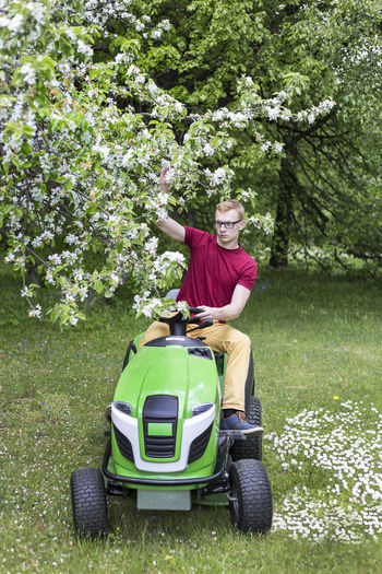 Man driving lawn mower by trees on grassy field