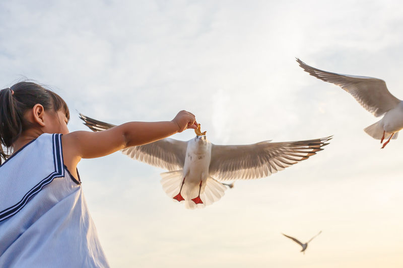 Low angle view of birds flying over girl against sky