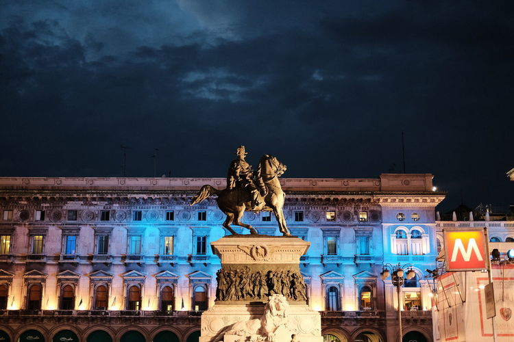 Architectural Column Architecture Art Blue Classic Chrome Cloud Cloud - Sky Cloudy Column Craft Façade History Illuminated Low Angle View Milano Monument No People Ornate Outdoors Piazza Del Duomo Sculpture Sky Statue Tourism Travel Destinations