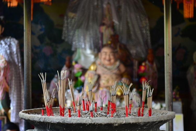 Joss Sticks In An Incense Pot