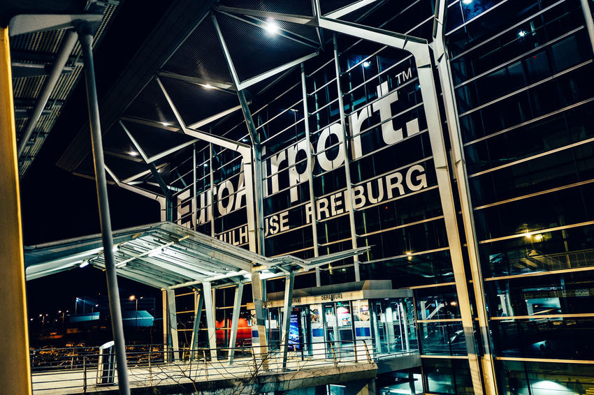 Airport Basel Architecture Basel Mulhouse Building Building Exterior Built Structure Communication Factory Illuminated Indoors  Industry Interior Low Angle View Modern Night Public Transportation Rail Transportation Railroad Station Text Train - Vehicle Transportation Western Script