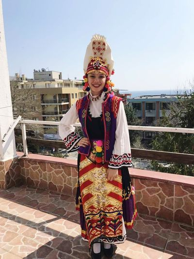 Bulgarian Girl Bulgarian Folklore Bulgaria❤️Bulgarian Folklore Costume Happy Dancer Smiling Sea Background Beautiful Day Balcony The Black Sea