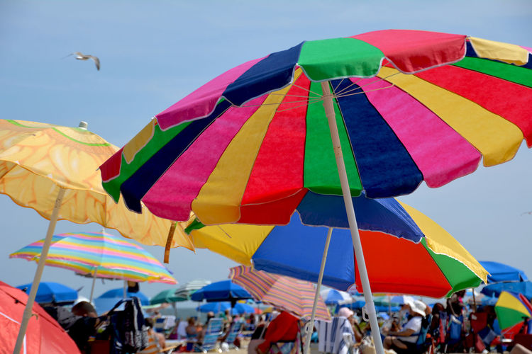 Umbrellas at the Beach Large Group Of People Multi Colored Crowd Celebration People Outdoors Sky Enjoyment Day Adult Blue Sand Summer Leisure Activity Beach Time Vacations Blue Sky No Clouds Beach Umbrellas Big Umbrellas Sun Sunny The Still Life Photographer - 2018 EyeEm Awards The Great Outdoors - 2018 EyeEm Awards Love Is Love