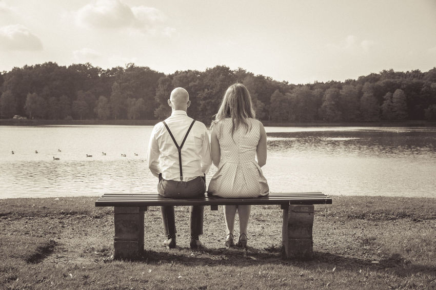 30th Back Bench Blackandwhite Bride Couple Day Groom Lake Love Midlife Outdoors Person Rear View Sitting Togetherness View Water Wedding