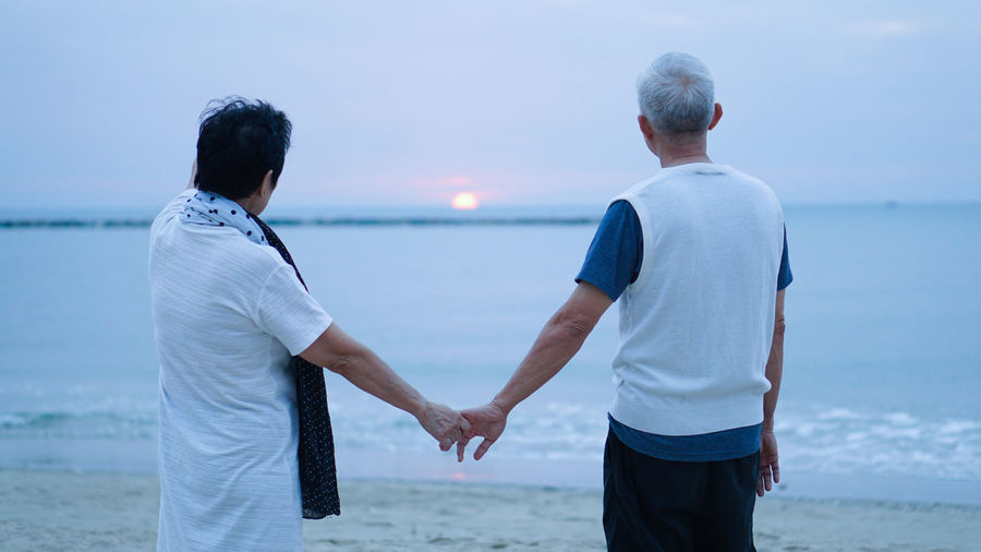 Rear view of couple holding hands standing at beach against sky