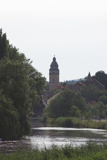 Tower Werra River Building Exterior Eschwege Architecture Clock Tower Water Sky Day Travel Destinations No People Germany