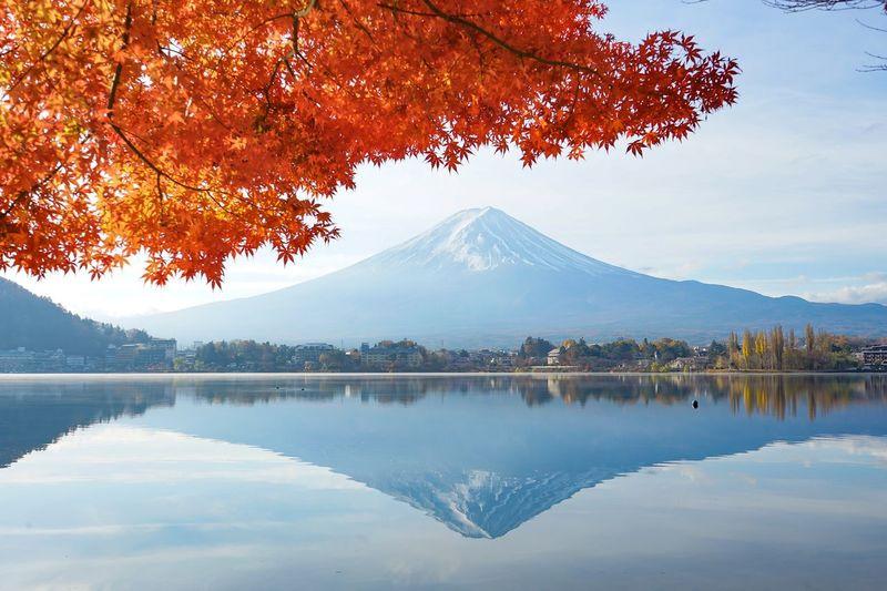 Beautiful landscape view of mt.fuji mountain famous landmark at japan.