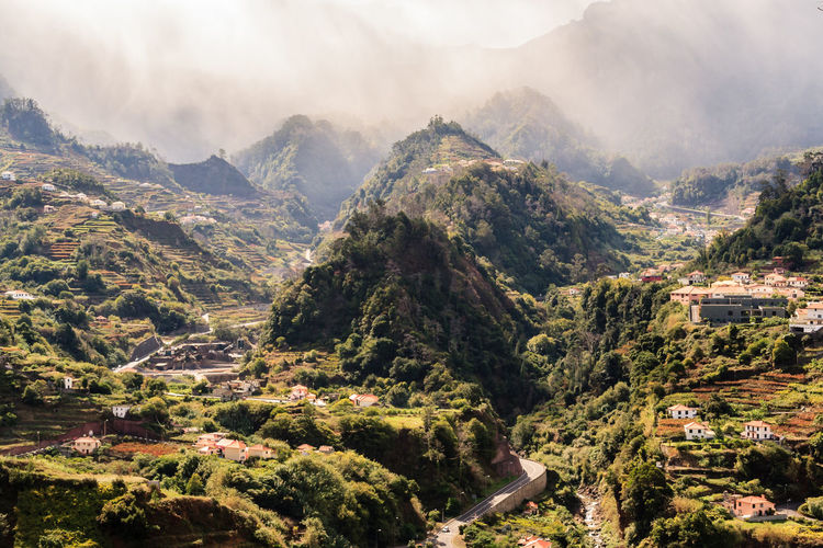 Madeira Islands, Portugal Rosario Architecture Beauty In Nature Building Exterior Built Structure Cloud - Sky Day Environment Fog High Angle View Landscape Mountain Mountain Range Nature No People Outdoors Plant Scenics - Nature Sky Tranquil Scene Tree