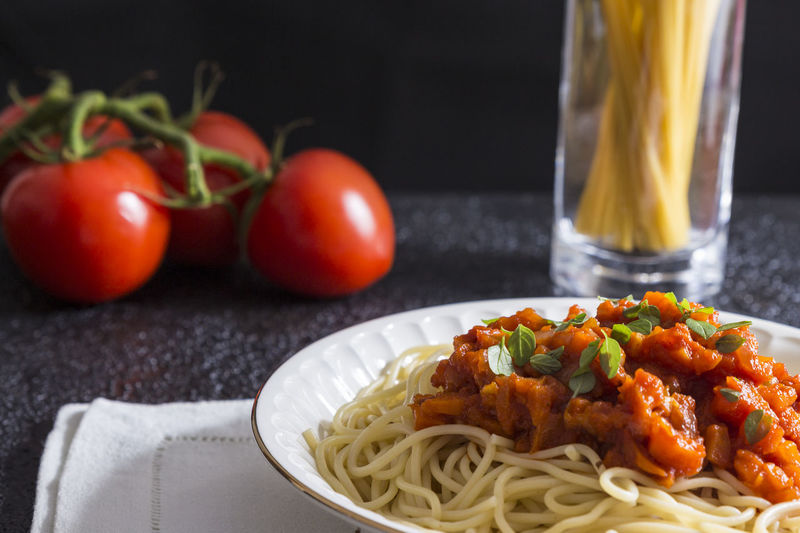 Basil Cherry Lunch Spaghetti Bolognese Bowl Close-up Food Food And Drink Freshness Garnish Healthy Eating Italian Food Noodles Pasta Pasta Time Plate Plates Ready-to-eat Sauce Serving Size Spaghetti Table Tomato Vegetable