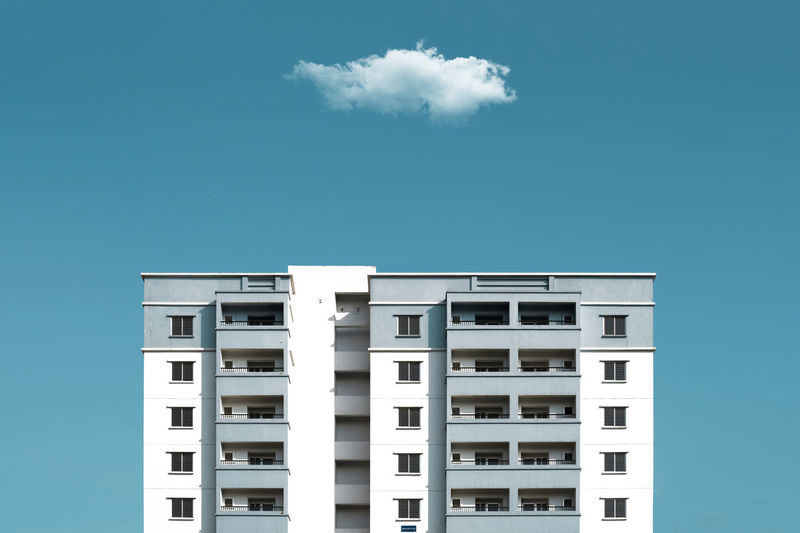 Architecture, Blue & Cloud Architecture Blue Building Exterior Built Structure City City Life Clear Sky Cloud Day Modern Outdoors Residential Building Sky Tall - High Tower White Window Colour Your Horizn
