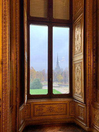 Trees seen through window of the palace.