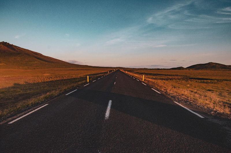 Dusk on a road on snaefellesnes peninsula, iceland.