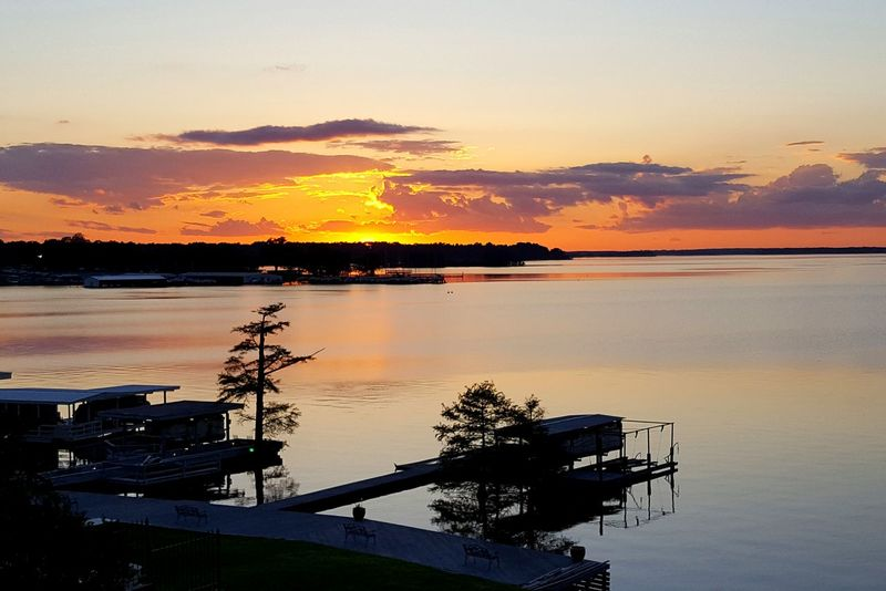 Sunset at Cross Lake in ShreveportSunset_collection Capture The Moment Capt Sunset Lake Lake View Sunset Silhouettes Orange Sunset Shreveport