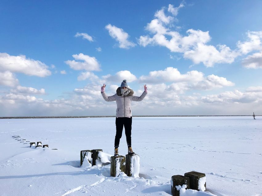 Cloud - Sky Outdoors Snow Day Weather One Person Nature Full Length Real People Cold Temperature Scenics Leisure Activity Winter Beauty In Nature Landscape Horizon Over Water Warm Clothing Water #FREIHEITBERLIN