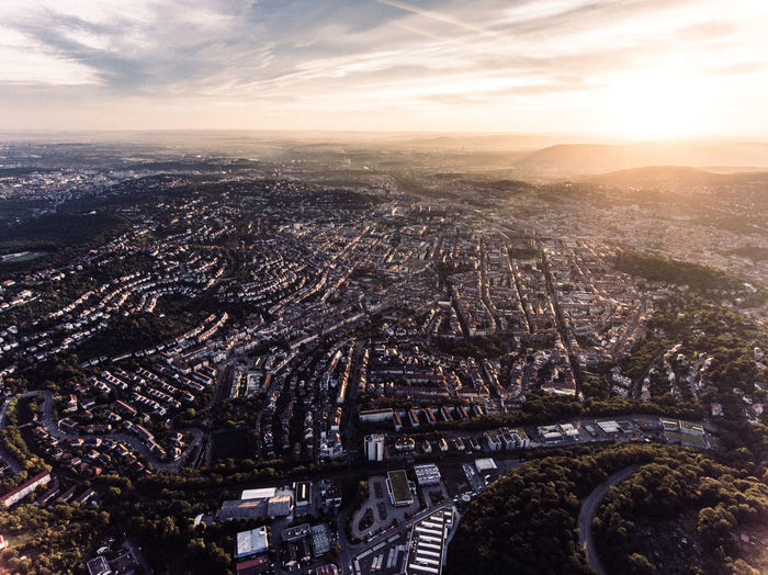 Aerial View Architecture Baden-Württemberg  Bird's Eye View City City Scape Cityscape Cloud - Sky Deutschland Drone  Drone Photography Droneshot Germany High Angle View Landscape No People Outdoors Sky Stuttgart Sunset Tourism Urban Skyline View View From Above Vogelperspektive