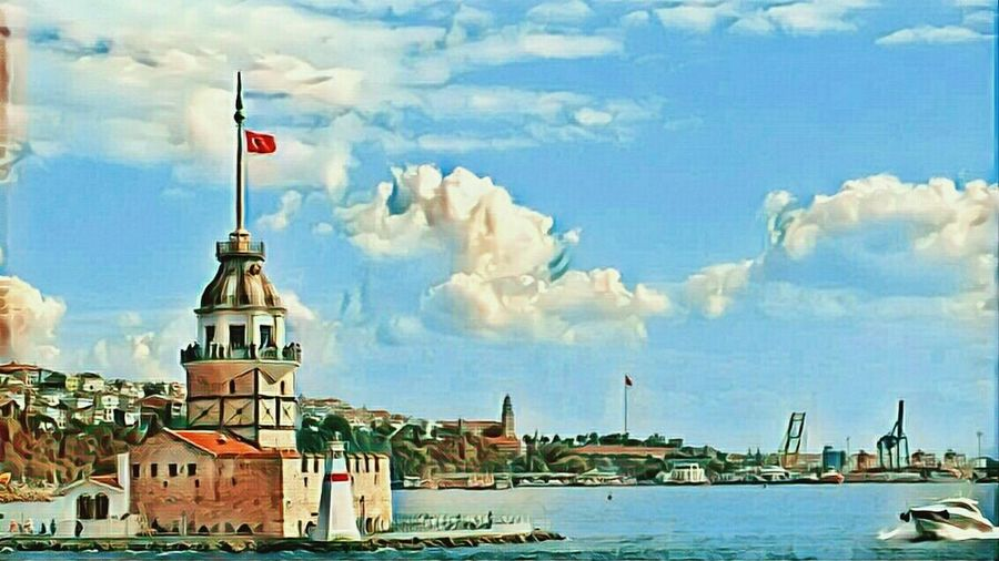 Maiden Tower Istanbul Maiden Tower Istanbul Turkey Konstantinopolis Flag Turkish Flag Cloud - Sky Building Exterior Architecture Sky Travel Destinations City Built Structure No People Water Outdoors Day My Year My View Photography Hello World!