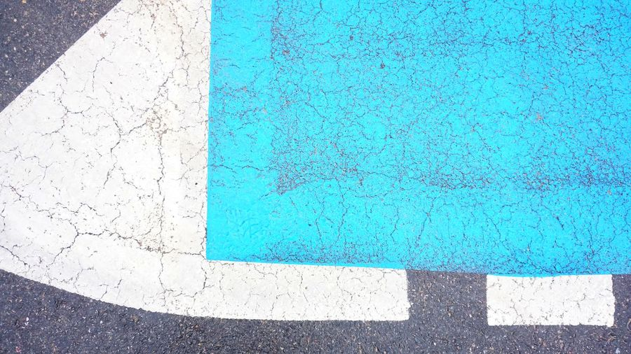 High angle view of blue crossing on street