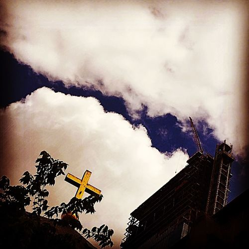 Low Angle View Cloud - Sky Sky Architecture Building Exterior Built Structure Outdoors Day No People Nature Cross House Of Worship Church Church Exterior