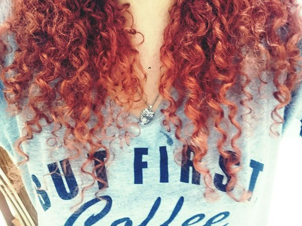 Red Head Owl Curls Mine Good Hair Day But First Coffe Grey Black