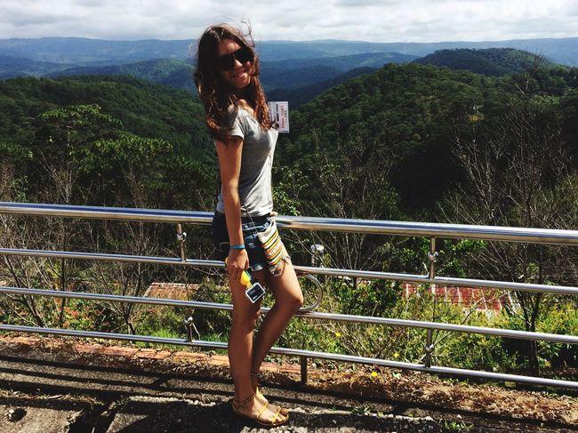 Da Lat Vietnam Tourist Young Women Sightseeing View Mountain View Traveling Da Lat City
