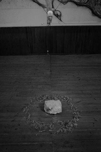 Mask & Stone ArtWork Fujifilm X-E2 Blackandwhite Fujifilm Fujifilm_xseries Hanging Indoors  Mask No People Rope Stone