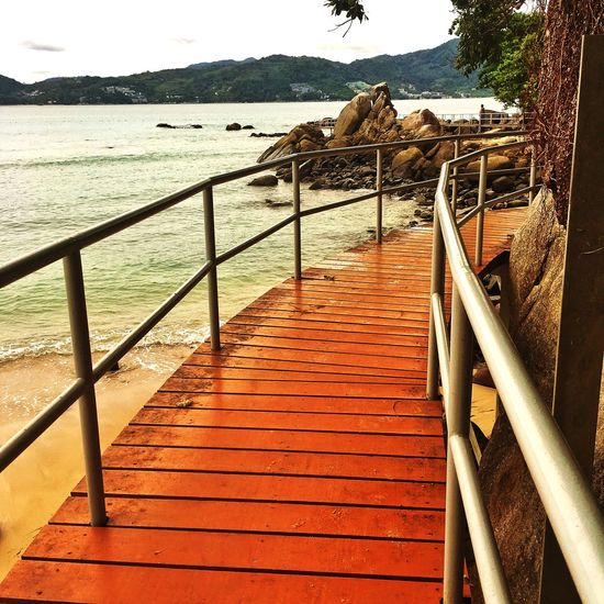 Water Railing Sea Day Nature The Way Forward Direction