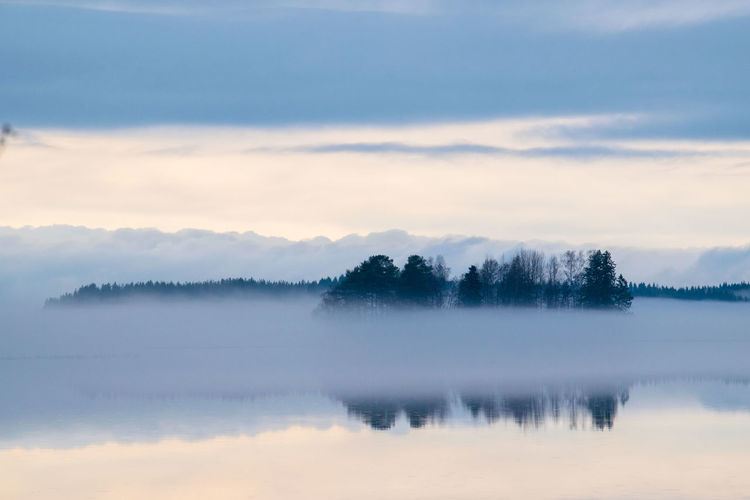 Beauty In Nature Day Fog Hazy  Idyllic Lake Landscape Mist Nature No People Outdoors Reflection Scenics Sky Sunset Tranquil Scene Tranquility Tree Water