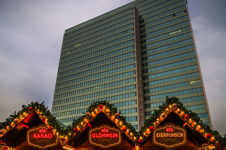 Düsseldorf, Germany Architecture Christmas Christmasmarket City Dreischeibenhaus Duesseldorf Düsseldorf Eierpunsch Germany Glühwein Kakao Low Angle View No People NRW Outdoors Weihnachten Weihnachtsmarkt